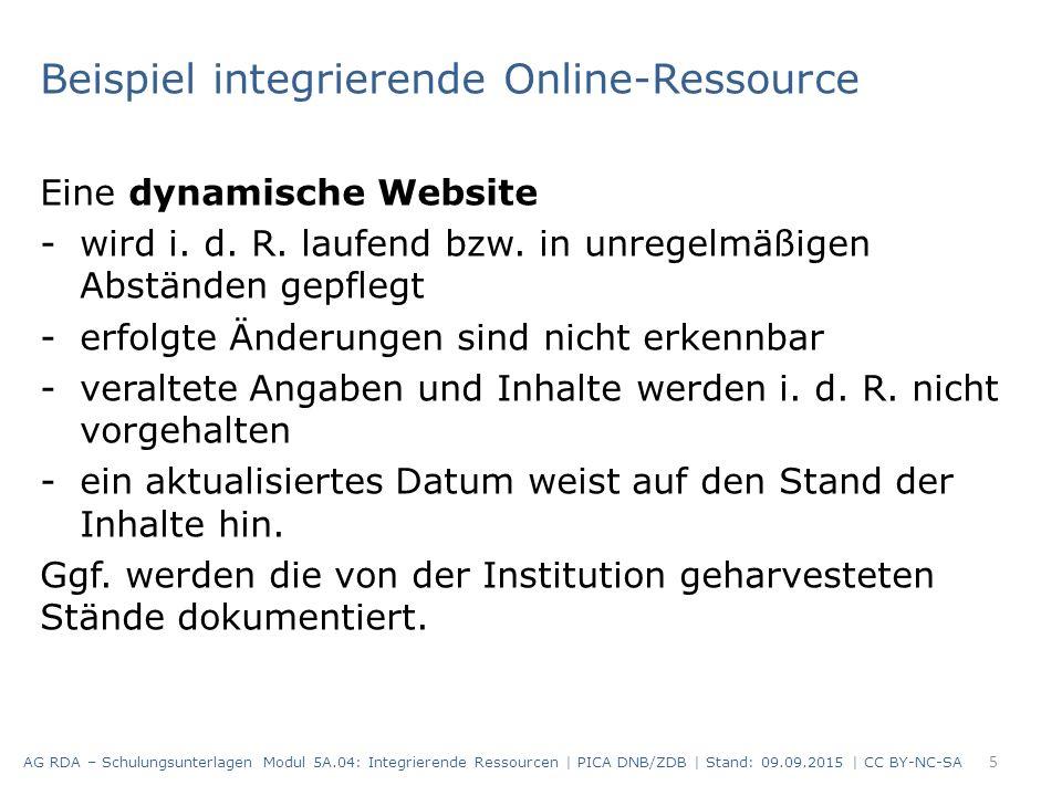 Beispiel integrierende Online-Ressource Eine dynamische Website -wird i. d. R. laufend bzw. in unregelmäßigen Abständen gepflegt -erfolgte Änderungen