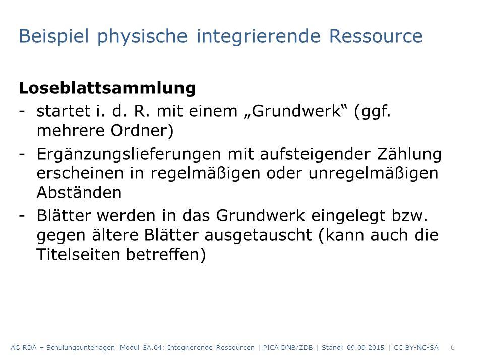 """Beispiel physische integrierende Ressource Loseblattsammlung -startet i. d. R. mit einem """"Grundwerk"""" (ggf. mehrere Ordner) -Ergänzungslieferungen mit"""