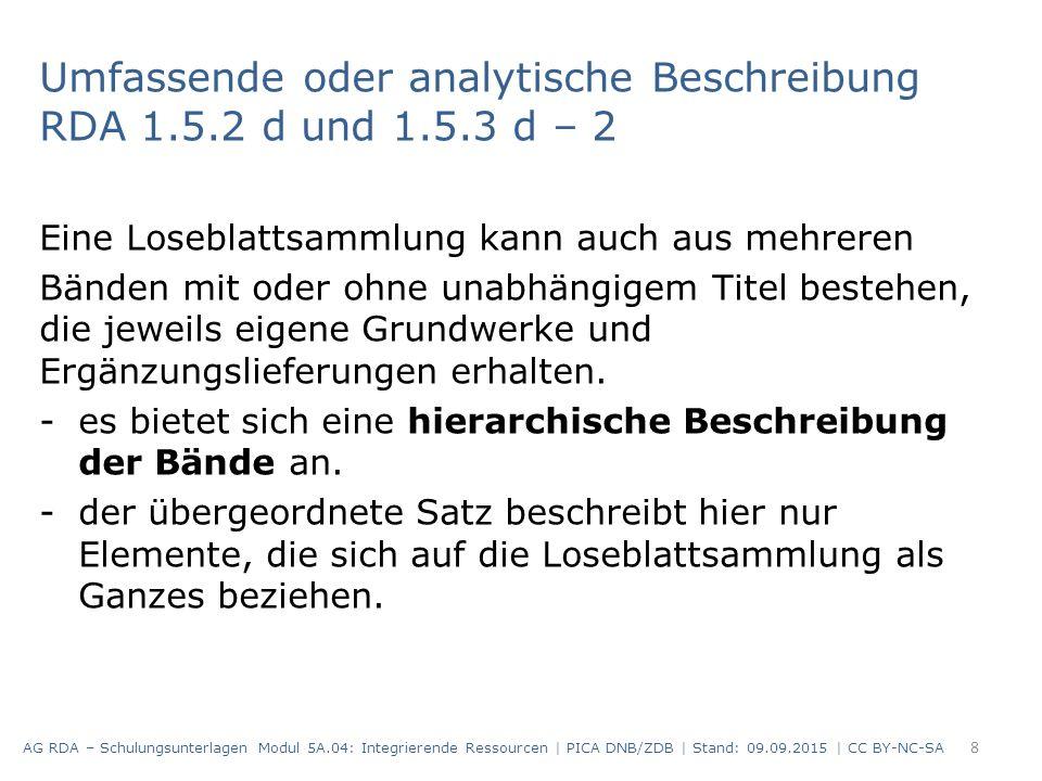 Umfassende oder analytische Beschreibung RDA 1.5.2 d und 1.5.3 d – 2 Eine Loseblattsammlung kann auch aus mehreren Bänden mit oder ohne unabhängigem T
