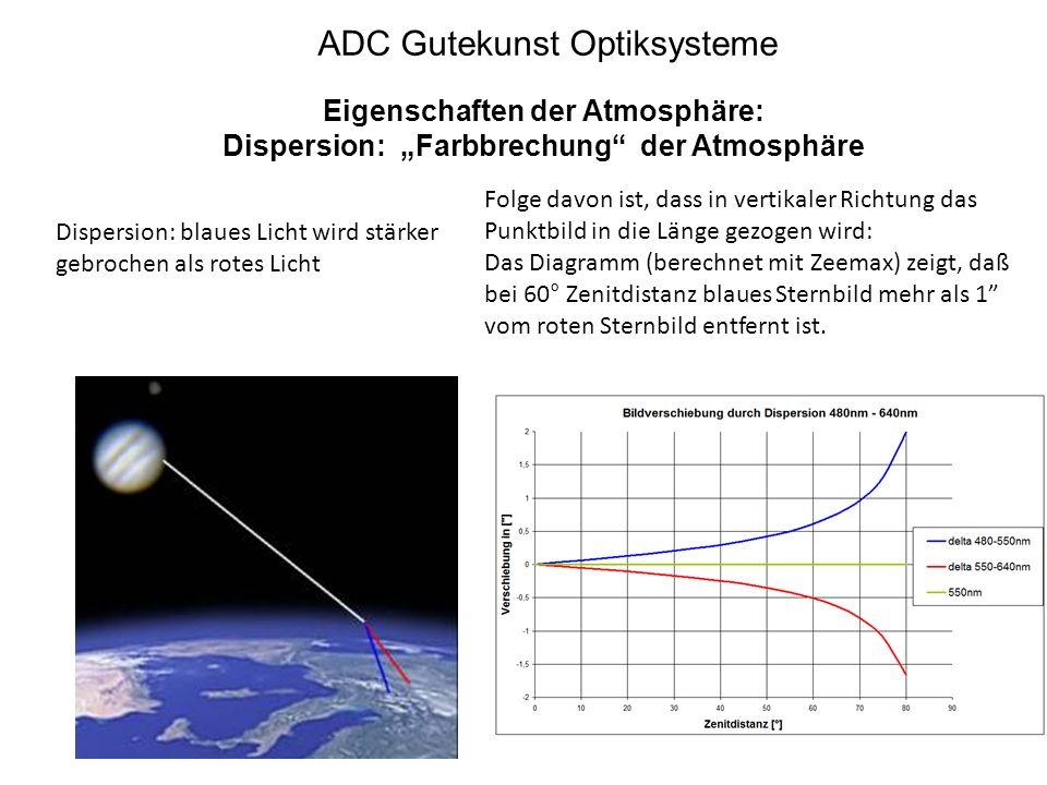 """ADC Gutekunst Optiksysteme Eigenschaften der Atmosphäre: Dispersion: """"Farbbrechung"""" der Atmosphäre Dispersion: blaues Licht wird stärker gebrochen als"""