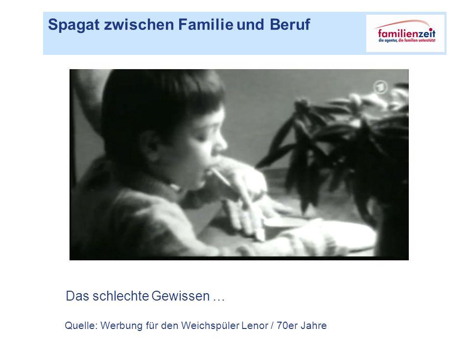 Spagat zwischen Familie und Beruf Das schlechte Gewissen … Quelle: Werbung für den Weichspüler Lenor / 70er Jahre