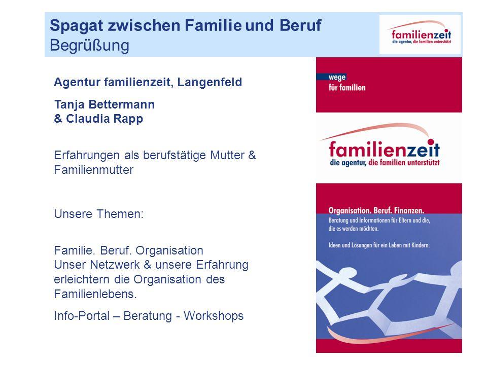 Spagat zwischen Familie und Beruf Begrüßung Agentur familienzeit, Langenfeld Tanja Bettermann & Claudia Rapp Erfahrungen als berufstätige Mutter & Familienmutter Unsere Themen: Familie.