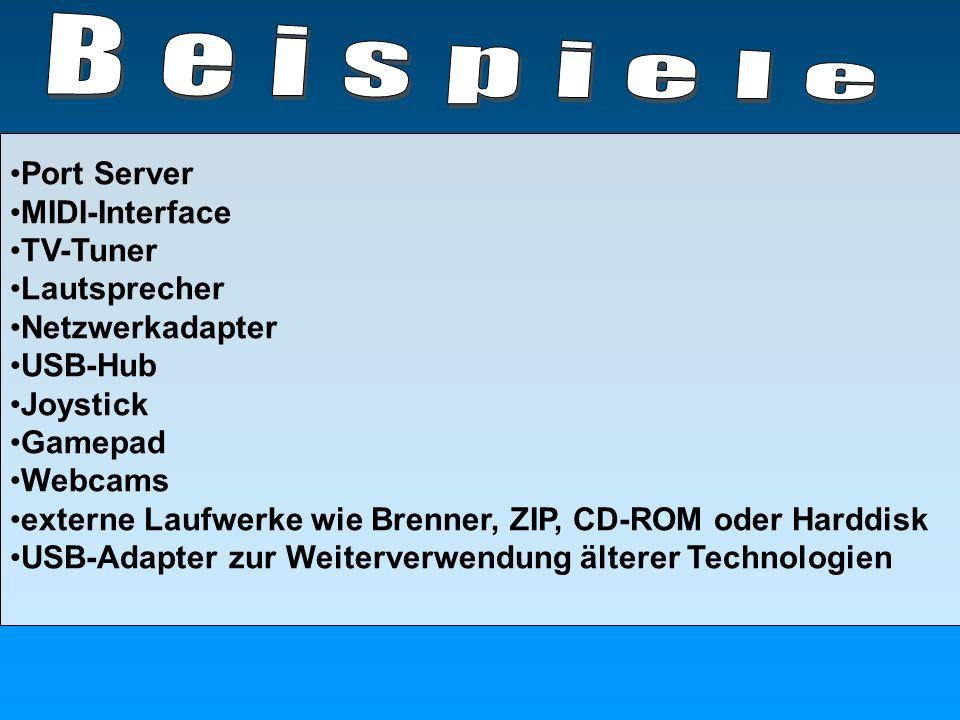 Port Server MIDI-Interface TV-Tuner Lautsprecher Netzwerkadapter USB-Hub Joystick Gamepad Webcams externe Laufwerke wie Brenner, ZIP, CD-ROM oder Hard