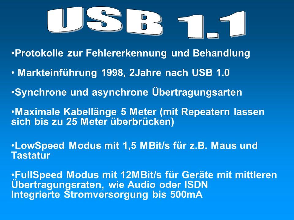 Protokolle zur Fehlererkennung und Behandlung Markteinführung 1998, 2Jahre nach USB 1.0 Synchrone und asynchrone Übertragungsarten Maximale Kabellänge 5 Meter (mit Repeatern lassen sich bis zu 25 Meter überbrücken) LowSpeed Modus mit 1,5 MBit/s für z.B.