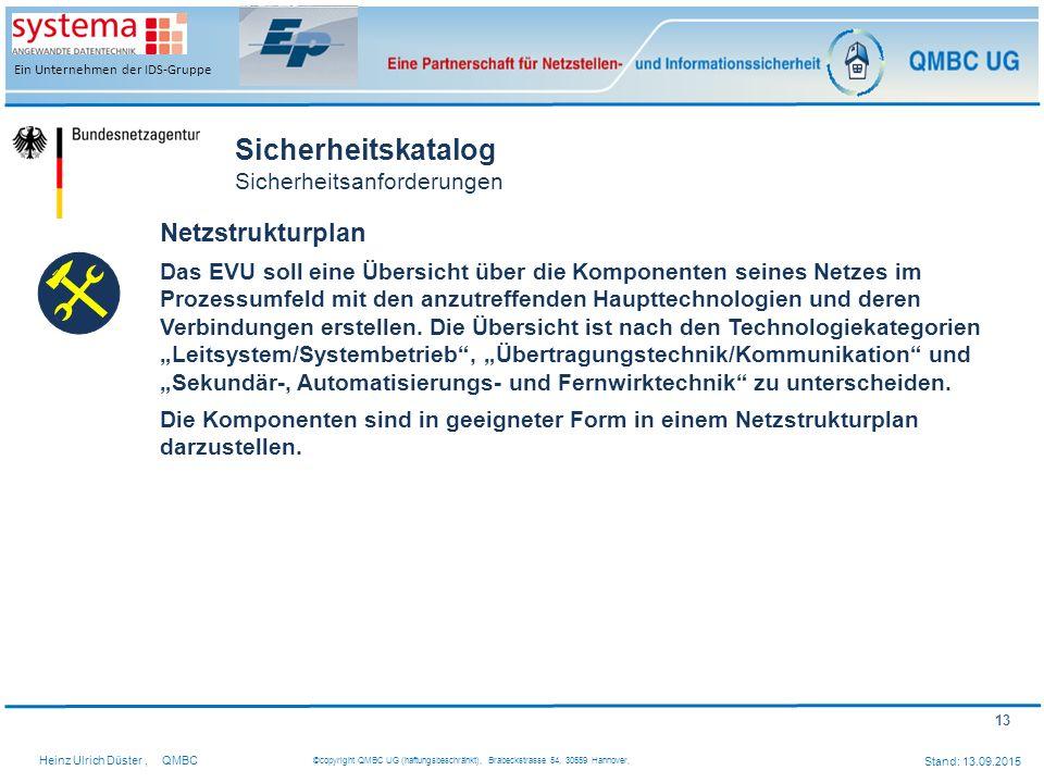 13 Heinz Ulrich Düster,QMBC ©copyright QMBC UG (haftungsbeschränkt), Brabeckstrasse 54, 30559 Hannover, Stand: 13.09.2015 Ein Unternehmen der IDS-Grup