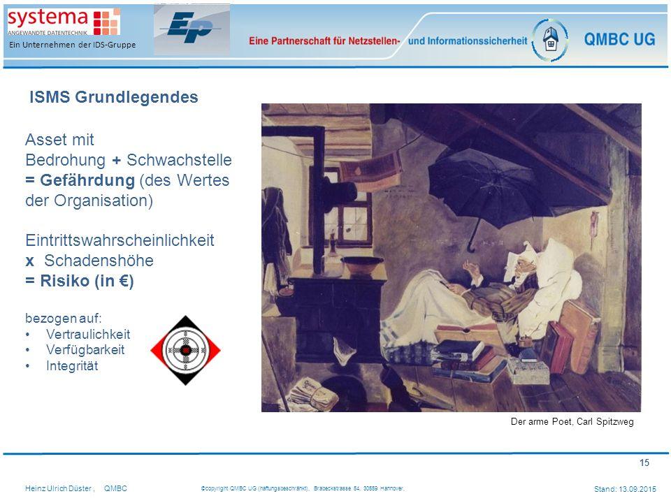 15 Heinz Ulrich Düster,QMBC ©copyright QMBC UG (haftungsbeschränkt), Brabeckstrasse 54, 30559 Hannover, Stand: 13.09.2015 Ein Unternehmen der IDS-Grup