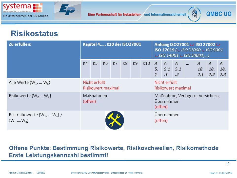 19 Heinz Ulrich Düster,QMBC ©copyright QMBC UG (haftungsbeschränkt), Brabeckstrasse 54, 30559 Hannover, Stand: 13.09.2015 Ein Unternehmen der IDS-Grup