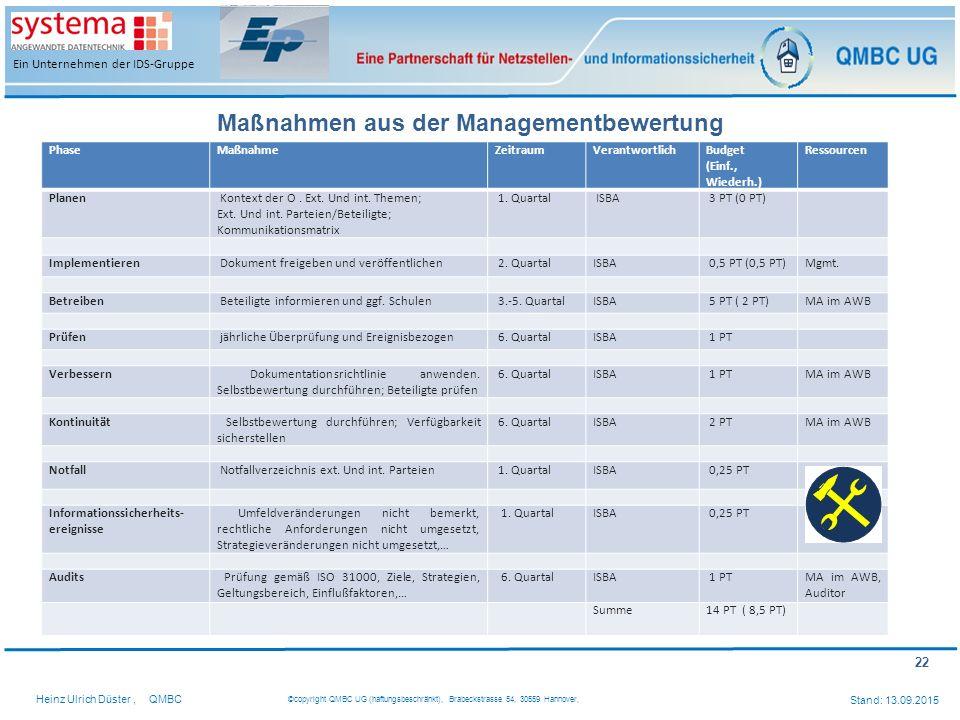 22 Heinz Ulrich Düster,QMBC ©copyright QMBC UG (haftungsbeschränkt), Brabeckstrasse 54, 30559 Hannover, Stand: 13.09.2015 Ein Unternehmen der IDS-Grup