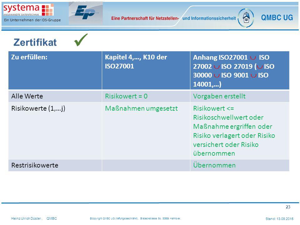 23 Heinz Ulrich Düster,QMBC ©copyright QMBC UG (haftungsbeschränkt), Brabeckstrasse 54, 30559 Hannover, Stand: 13.09.2015 Ein Unternehmen der IDS-Grup