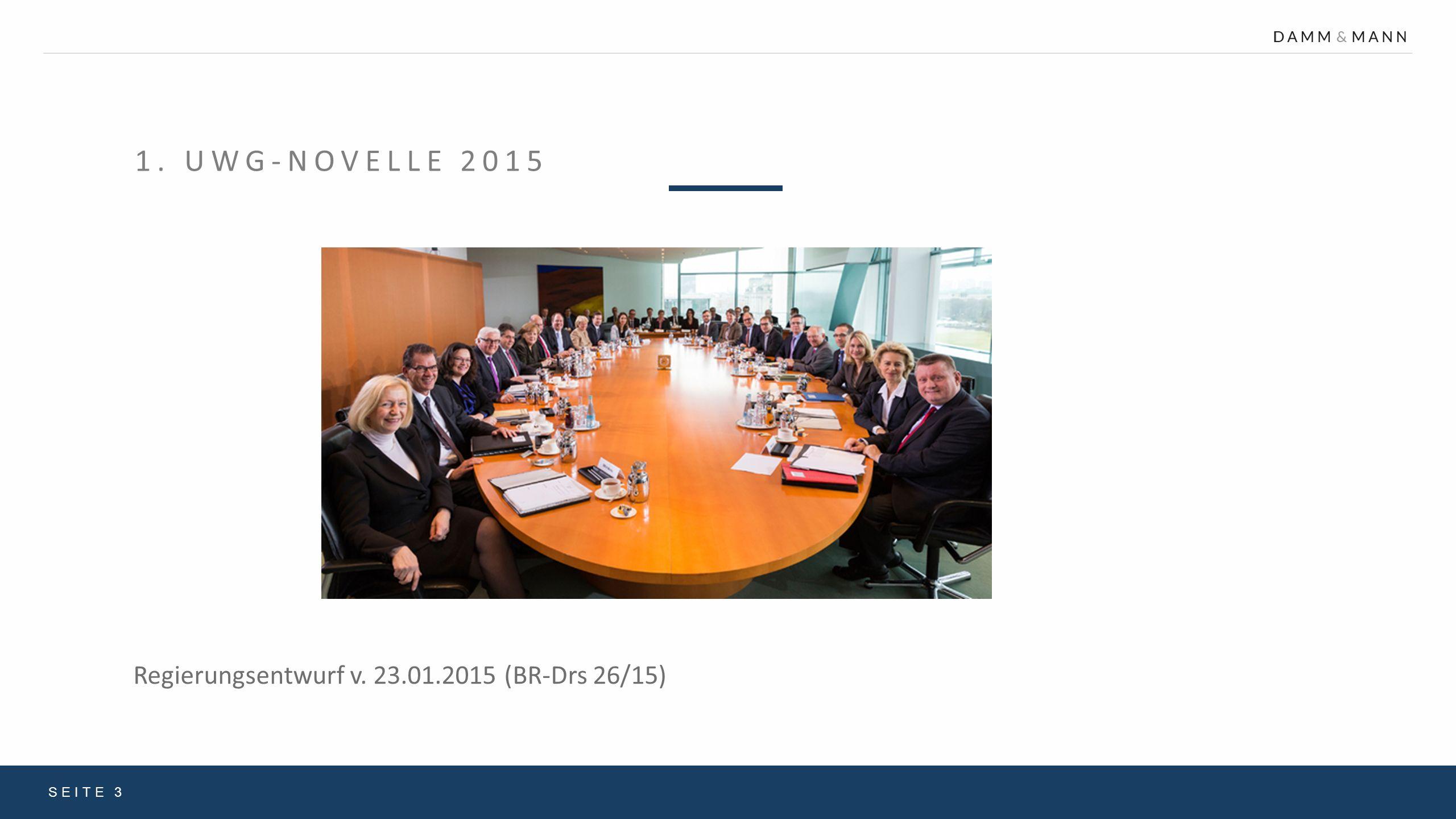 1.UWG-NOVELLE 2015 Klarstellungsbedarf gesetzessystematischer Art.