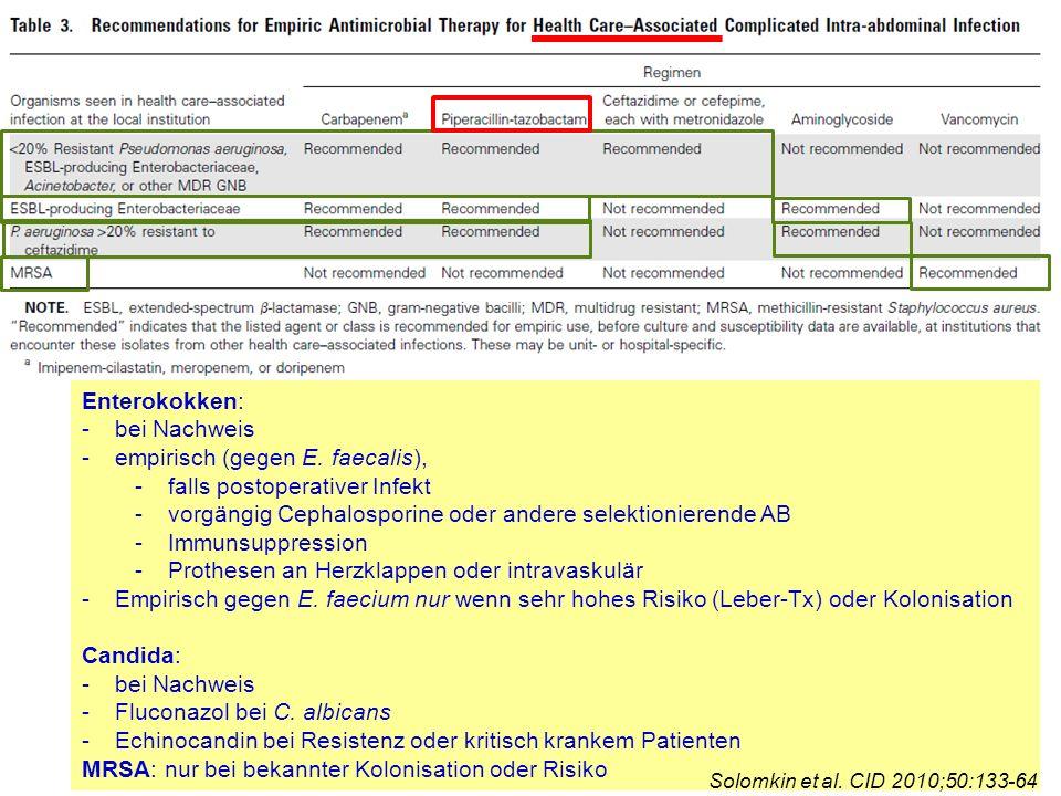 Enterokokken: -bei Nachweis -empirisch (gegen E. faecalis), -falls postoperativer Infekt -vorgängig Cephalosporine oder andere selektionierende AB -Im