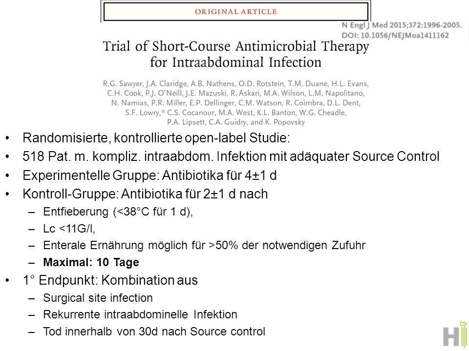 Randomisierte, kontrollierte open-label Studie: 518 Pat.