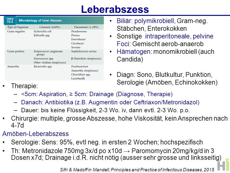Leberabszess Therapie: –<5cm: Aspiration, ≥ 5cm: Drainage (Diagnose, Therapie) –Danach: Antibiotika (z.B.