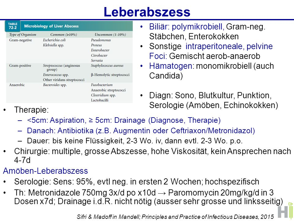 Leberabszess Therapie: –<5cm: Aspiration, ≥ 5cm: Drainage (Diagnose, Therapie) –Danach: Antibiotika (z.B. Augmentin oder Ceftriaxon/Metronidazol) –Dau
