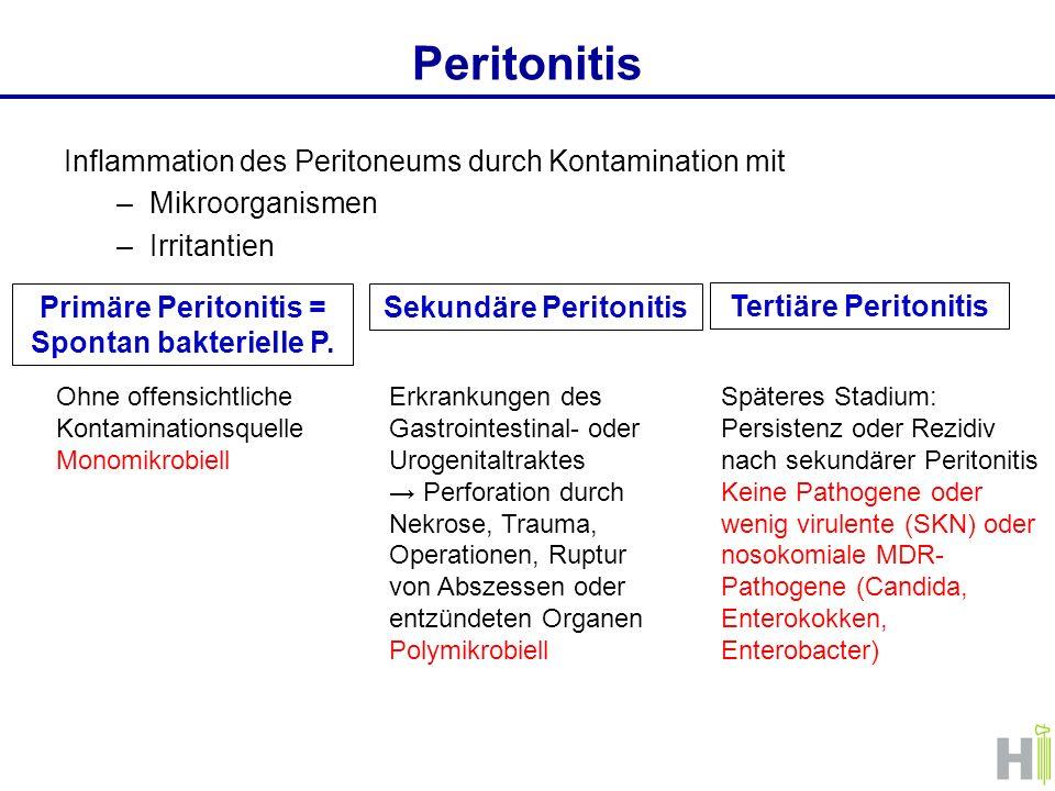 Peritonitis Inflammation des Peritoneums durch Kontamination mit –Mikroorganismen –Irritantien Primäre Peritonitis = Spontan bakterielle P. Sekundäre
