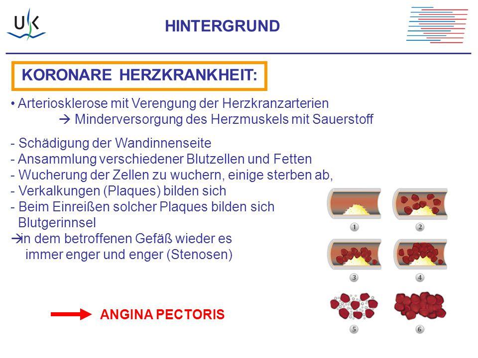 HINTERGRUND KORONARE HERZKRANKHEIT: Arteriosklerose mit Verengung der Herzkranzarterien  Minderversorgung des Herzmuskels mit Sauerstoff - Schädigung