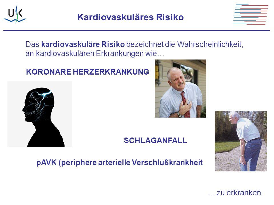 Kardiovaskuläres Risiko Das kardiovaskuläre Risiko bezeichnet die Wahrscheinlichkeit, an kardiovaskulären Erkrankungen wie… KORONARE HERZERKRANKUNG SC