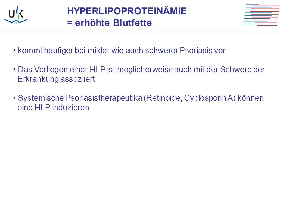 HYPERLIPOPROTEINÄMIE = erhöhte Blutfette kommt häufiger bei milder wie auch schwerer Psoriasis vor Das Vorliegen einer HLP ist möglicherweise auch mit