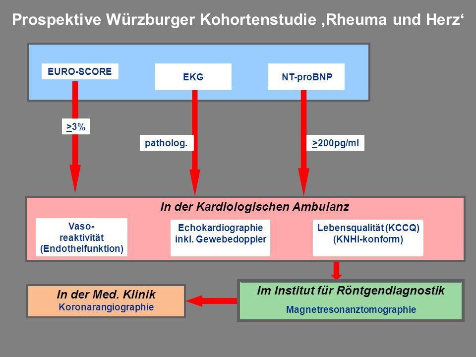 Prospektive Würzburger Kohortenstudie 'Rheuma und Herz' Vaso- reaktivität (Endothelfunktion) Echokardiographie inkl. Gewebedoppler Lebensqualität (KCC