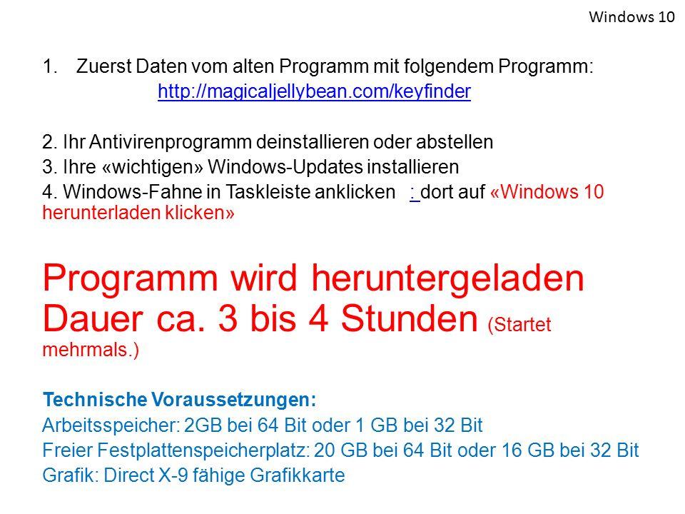 1.Zuerst Daten vom alten Programm mit folgendem Programm: http://magicaljellybean.com/keyfinder 2. Ihr Antivirenprogramm deinstallieren oder abstellen