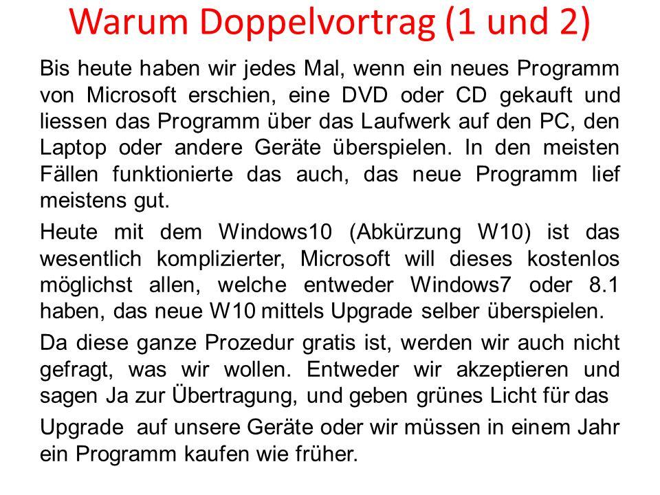 Bis heute haben wir jedes Mal, wenn ein neues Programm von Microsoft erschien, eine DVD oder CD gekauft und liessen das Programm über das Laufwerk auf
