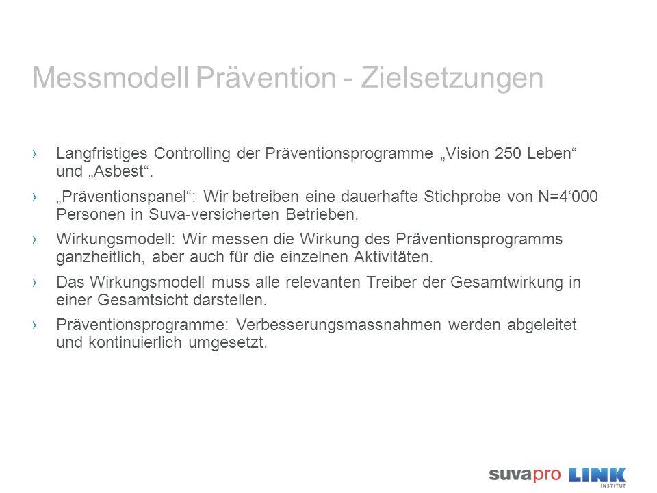 """Messmodell Prävention - Zielsetzungen › Langfristiges Controlling der Präventionsprogramme """"Vision 250 Leben"""" und """"Asbest"""". › """"Präventionspanel"""": Wir"""