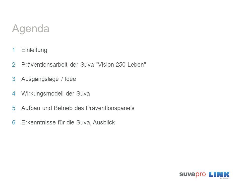 Agenda 1Einleitung 2Präventionsarbeit der Suva Vision 250 Leben 3Ausgangslage / Idee 4Wirkungsmodell der Suva 5Aufbau und Betrieb des Präventionspanels 6Erkenntnisse für die Suva, Ausblick