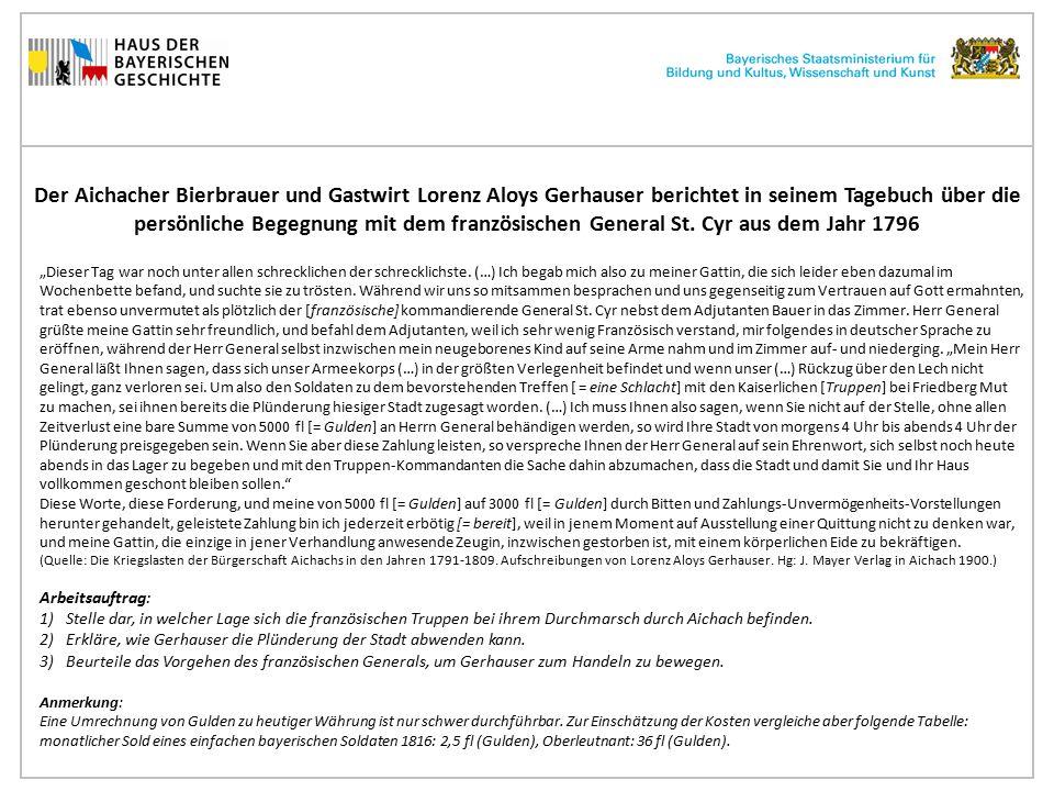 """Der Aichacher Bierbrauer und Gastwirt Lorenz Aloys Gerhauser berichtet in seinem Tagebuch von der Versorgung einquartierter Generäle in seinem Wirtshaus im Jahr 1805 """"Tags darauf, den 9."""