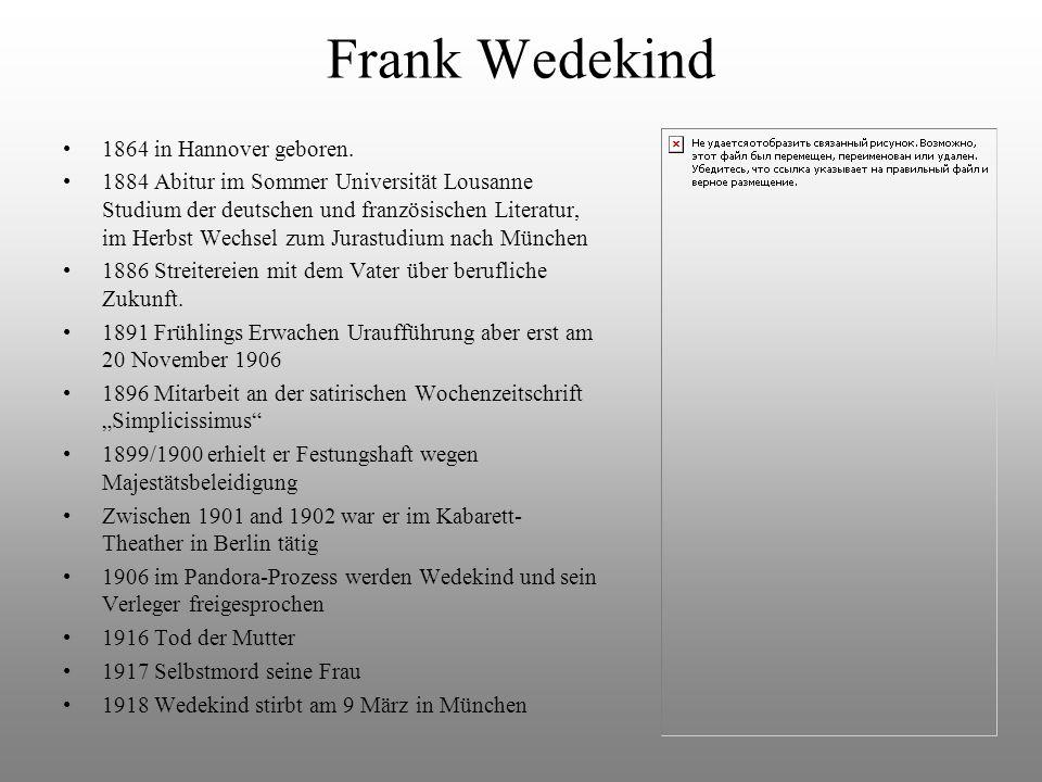 Frank Wedekind 1864 in Hannover geboren.