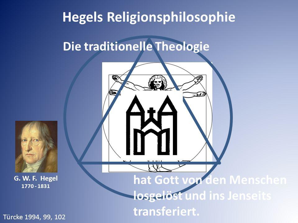 G. W. F. Hegel 1770 - 1831 Die traditionelle Theologie hat Gott von den Menschen losgelöst und ins Jenseits transferiert. Hegels Religionsphilosophie