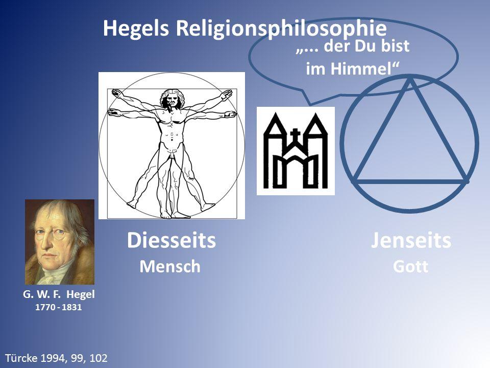 """DiesseitsJenseits Mensch Gott G. W. F. Hegel 1770 - 1831 """"... der Du bist im Himmel"""" Hegels Religionsphilosophie Türcke 1994, 99, 102"""