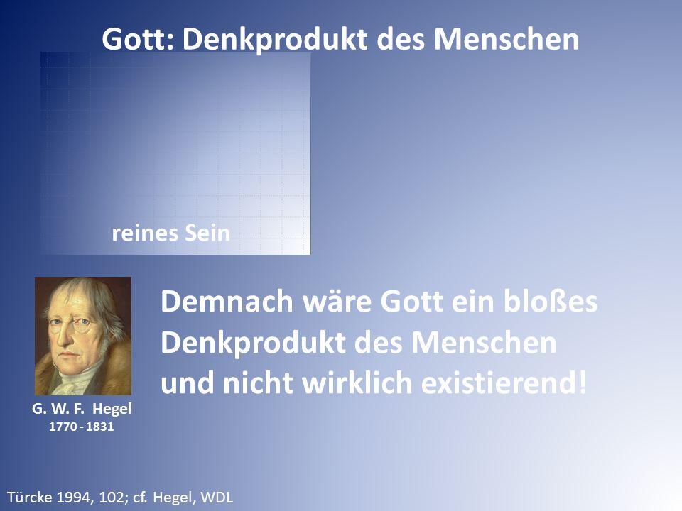 reines Sein G. W. F. Hegel 1770 - 1831 Demnach wäre Gott ein bloßes Denkprodukt des Menschen und nicht wirklich existierend! Gott: Denkprodukt des Men