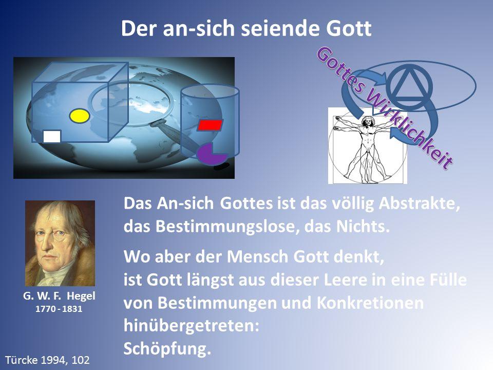 Der an-sich seiende Gott G. W. F. Hegel 1770 - 1831 Das An-sich Gottes ist das völlig Abstrakte, das Bestimmungslose, das Nichts. Wo aber der Mensch G