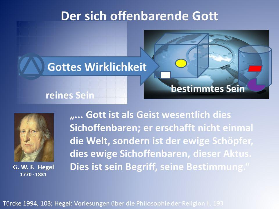 """G. W. F. Hegel 1770 - 1831 reines Sein bestimmtes Sein Gottes Wirklichkeit """"... Gott ist als Geist wesentlich dies Sichoffenbaren; er erschafft nicht"""