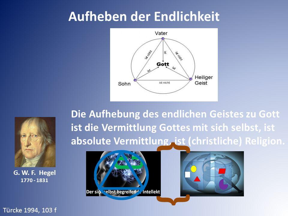 G. W. F. Hegel 1770 - 1831 Die Aufhebung des endlichen Geistes zu Gott ist die Vermittlung Gottes mit sich selbst, ist absolute Vermittlung, ist (chri