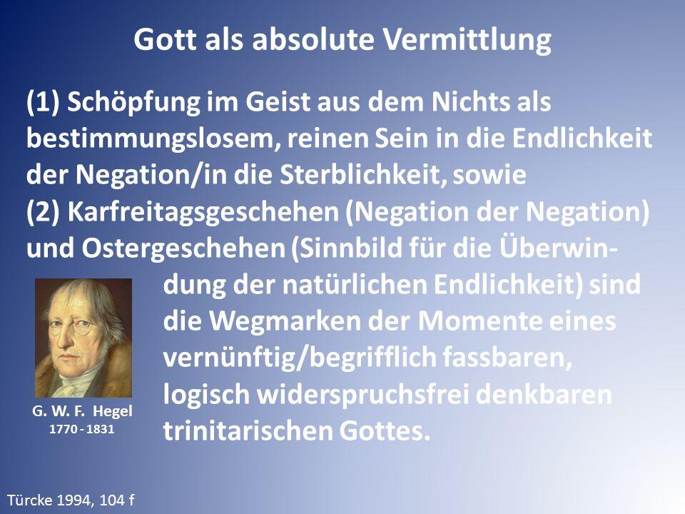 G. W. F. Hegel 1770 - 1831 (1) Schöpfung im Geist aus dem Nichts als bestimmungslosem, reinen Sein in die Endlichkeit der Negation/in die Sterblichkei