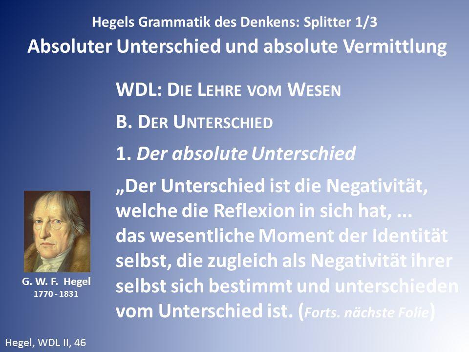 G. W. F. Hegel 1770 - 1831 Hegels Grammatik des Denkens: Splitter 1/3 Absoluter Unterschied und absolute Vermittlung WDL: D IE L EHRE VOM W ESEN B. D