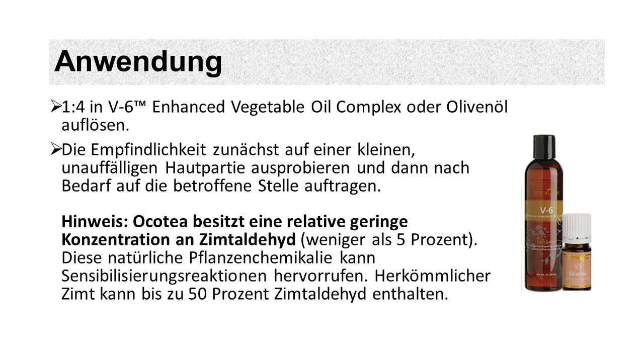 Anwendung  1:4 in V-6™ Enhanced Vegetable Oil Complex oder Olivenöl auflösen.