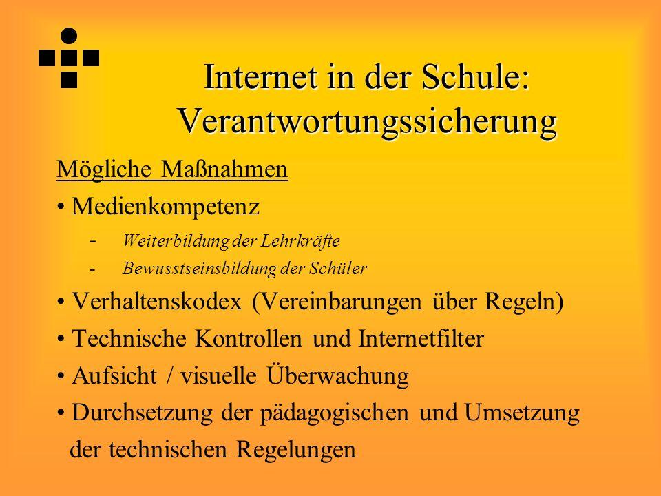 Internet in der Schule: Verantwortungssicherung Mögliche Maßnahmen Medienkompetenz - Weiterbildung der Lehrkräfte -Bewusstseinsbildung der Schüler Ver