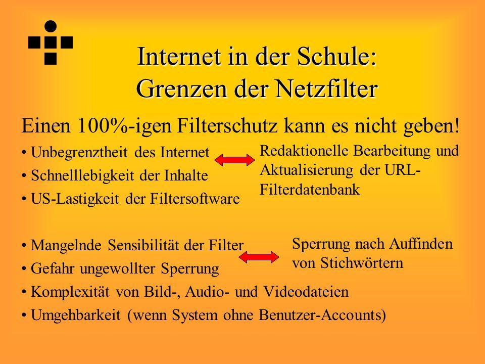 Internet in der Schule: Grenzen der Netzfilter Einen 100%-igen Filterschutz kann es nicht geben! Unbegrenztheit des Internet Schnelllebigkeit der Inha