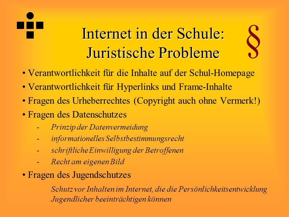 Internet in der Schule: Juristische Probleme Verantwortlichkeit für die Inhalte auf der Schul-Homepage Verantwortlichkeit für Hyperlinks und Frame-Inh