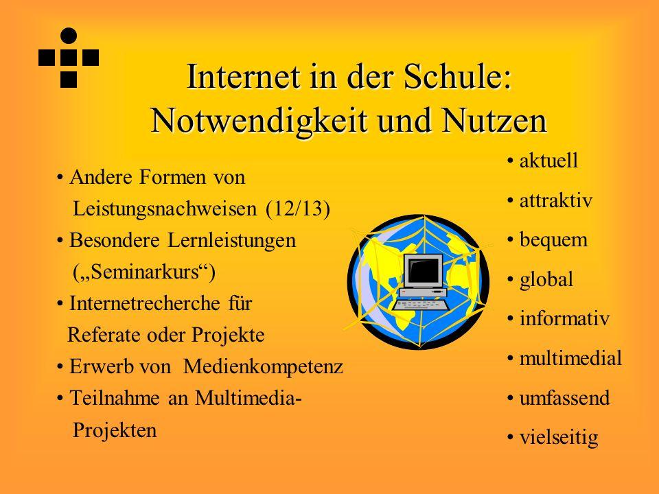"""Internet in der Schule: Notwendigkeit und Nutzen Andere Formen von Leistungsnachweisen (12/13) Besondere Lernleistungen (""""Seminarkurs"""") Internetrecher"""
