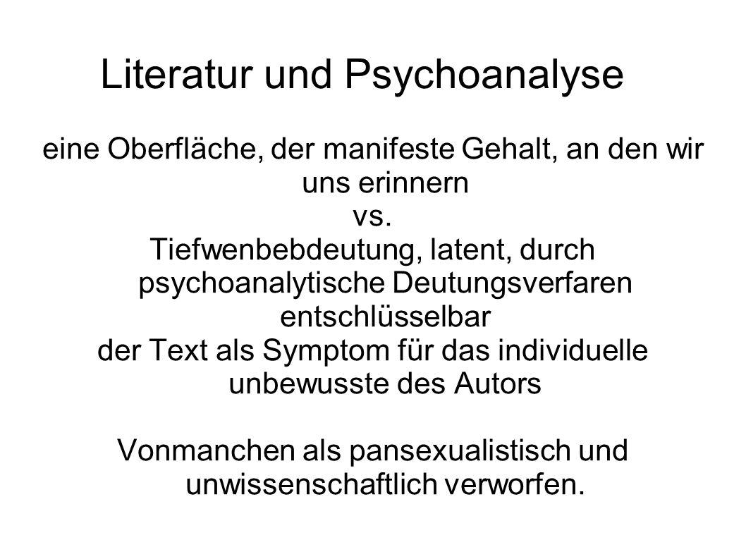Literatur und Psychoanalyse eine Oberfläche, der manifeste Gehalt, an den wir uns erinnern vs.