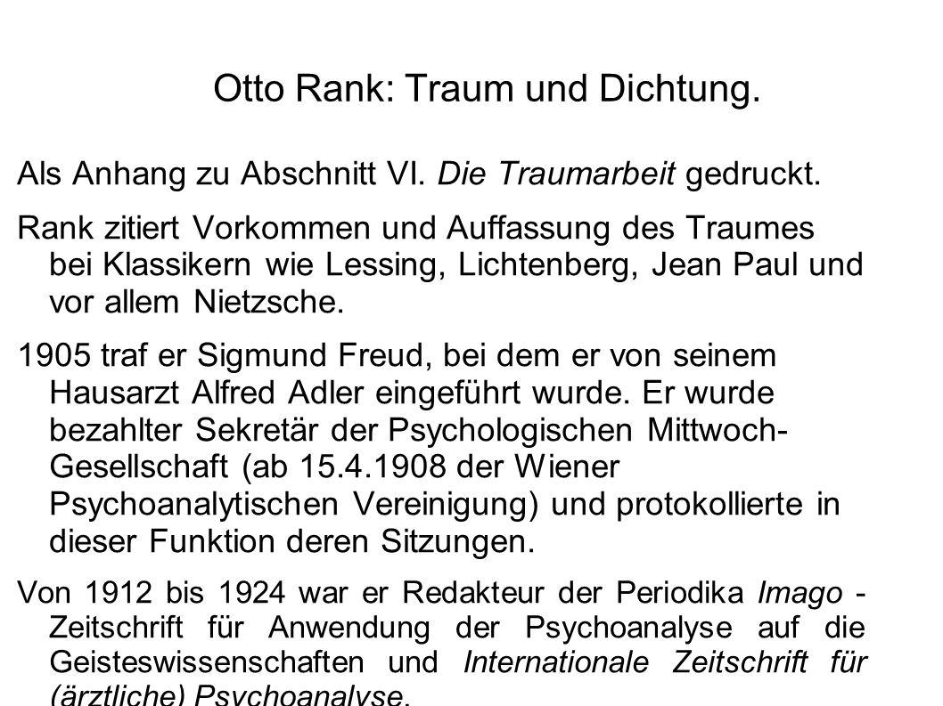 Otto Rank: Traum und Dichtung.Als Anhang zu Abschnitt VI.