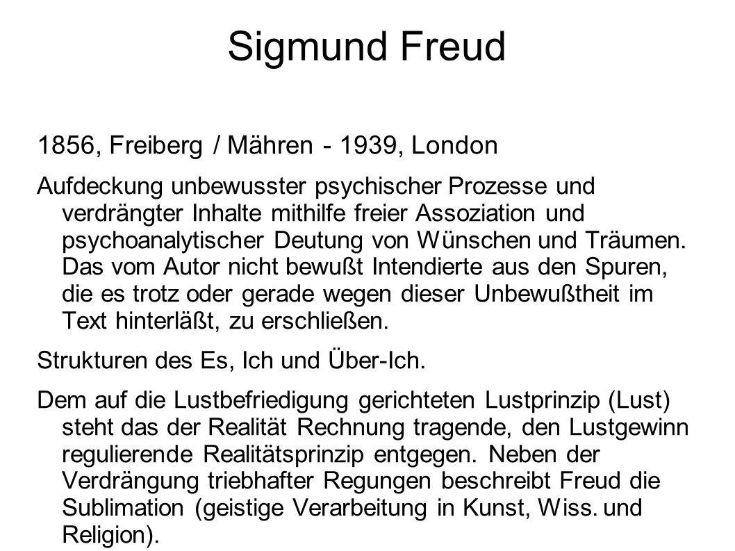 Sigmund Freud 1856, Freiberg / Mähren - 1939, London Aufdeckung unbewusster psychischer Prozesse und verdrängter Inhalte mithilfe freier Assoziation und psychoanalytischer Deutung von Wünschen und Träumen.