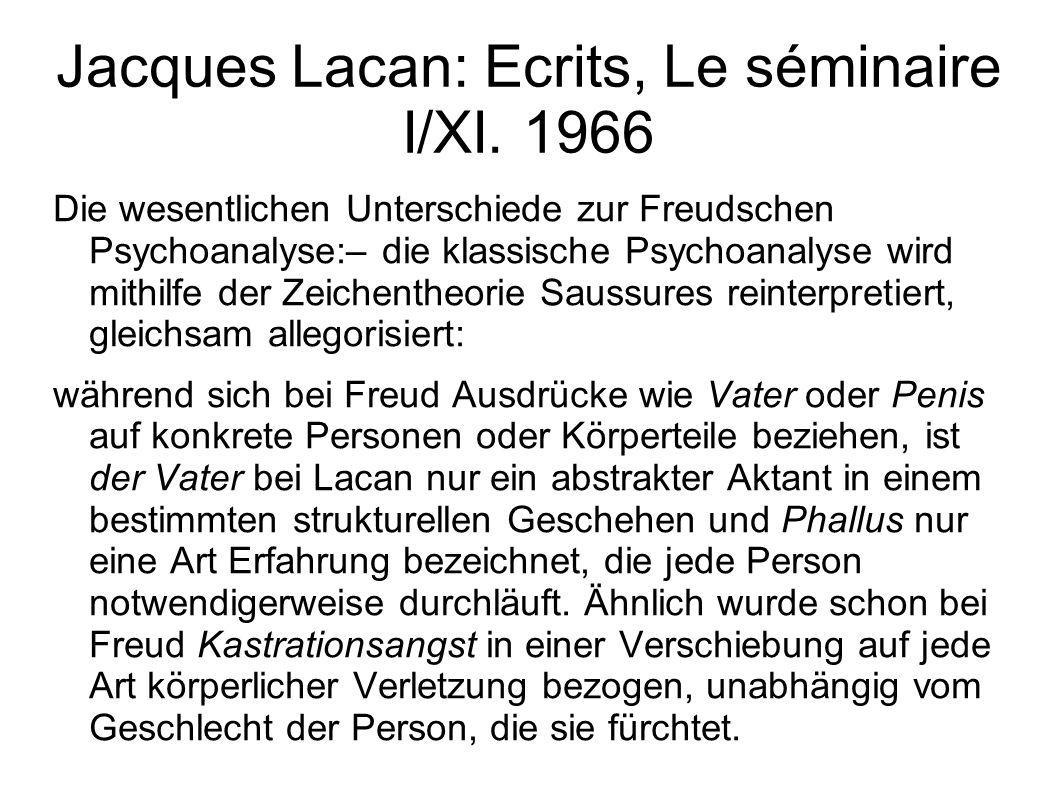 Jacques Lacan: Ecrits, Le séminaire I/XI.