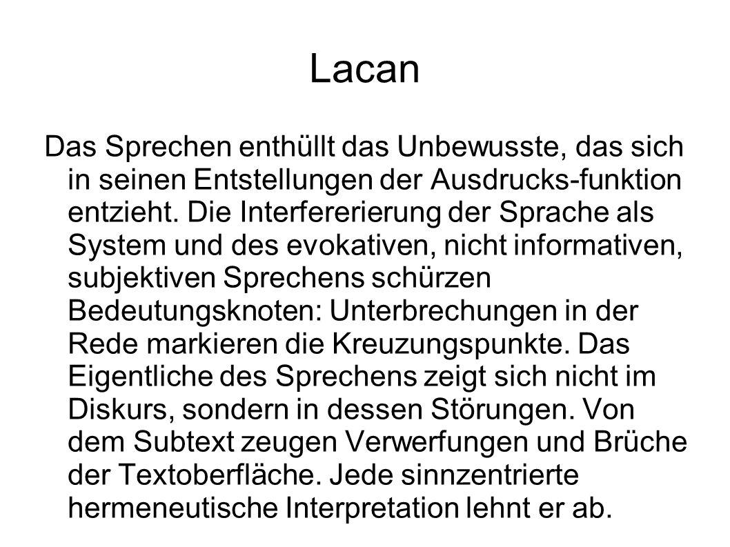 Lacan Das Sprechen enthüllt das Unbewusste, das sich in seinen Entstellungen der Ausdrucks-funktion entzieht.