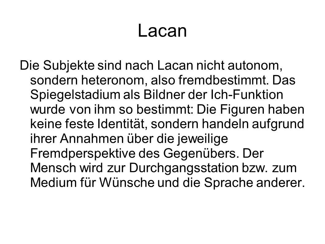 Lacan Die Subjekte sind nach Lacan nicht autonom, sondern heteronom, also fremdbestimmt.