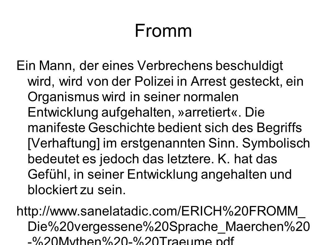 Fromm Ein Mann, der eines Verbrechens beschuldigt wird, wird von der Polizei in Arrest gesteckt, ein Organismus wird in seiner normalen Entwicklung aufgehalten, »arretiert«.