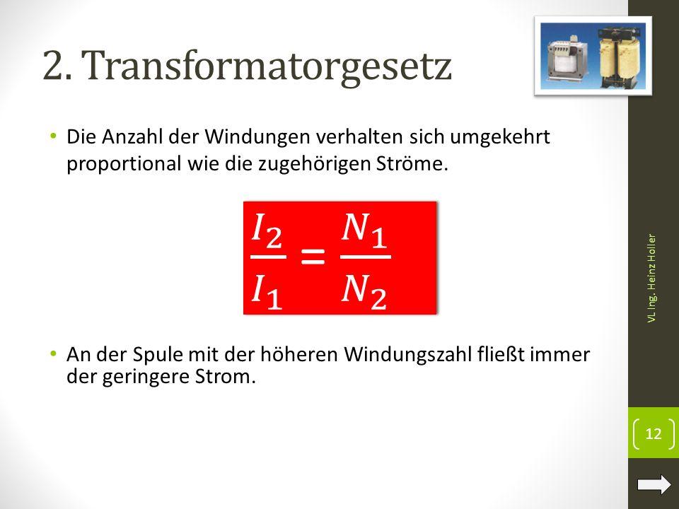 2. Transformatorgesetz Die Anzahl der Windungen verhalten sich umgekehrt proportional wie die zugehörigen Ströme. An der Spule mit der höheren Windung